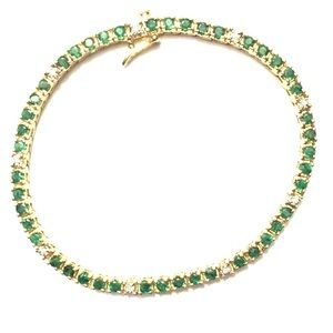 Jewelry - Yellow gold diamond & emerald tennis bracelet